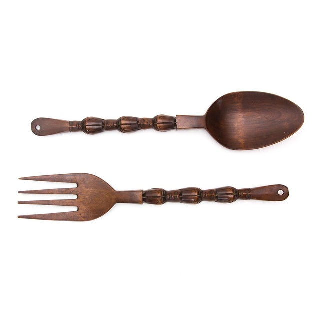 Giant Wooden Tiki Utensil Accents - A Pair - Image 1 of 5