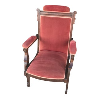 Antique Victorian Red Upholstered Arm Chair For Sale