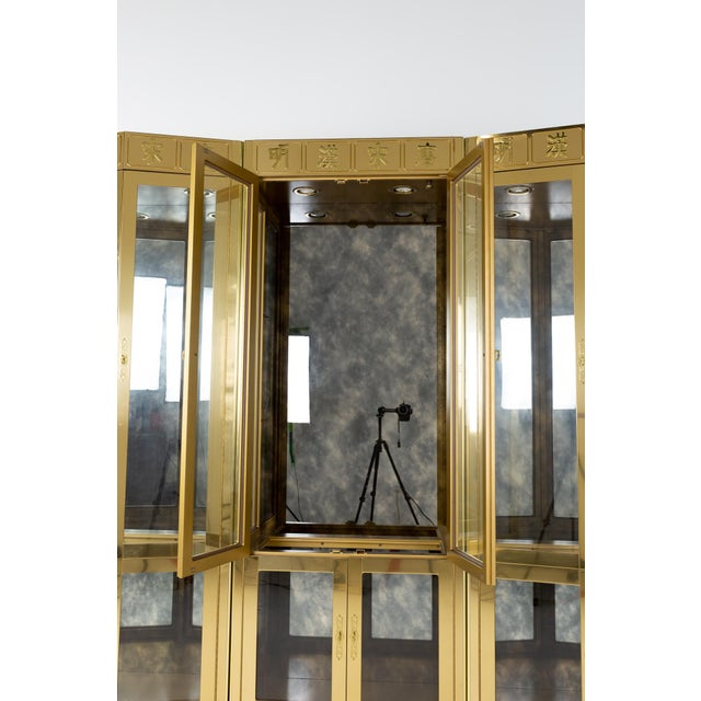 Mastercraft Mid Century Brass Display Cabinet - Set of 3 For Sale - Image 9 of 13