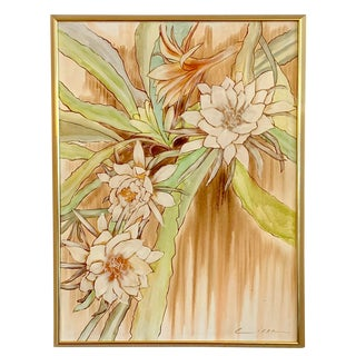 1980's Original Framed Contemporary Floral Oil on Canvas Painting For Sale