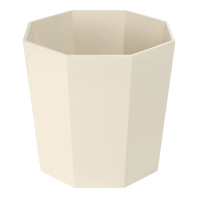 Contemporary Miles Redd Collection Octagonal Waste Basket in Ivory For Sale - Image 3 of 4