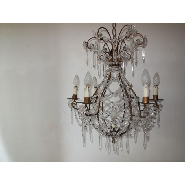 French Beaded Balloon Crystal Chandelier, circa 1940 For Sale - Image 10 of 11