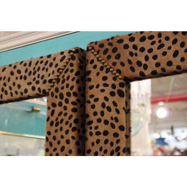 1970s Custom Made Mid Century Modern Faux Leopard Leather Frame Mirrors - a Pair For Sale - Image 5 of 7