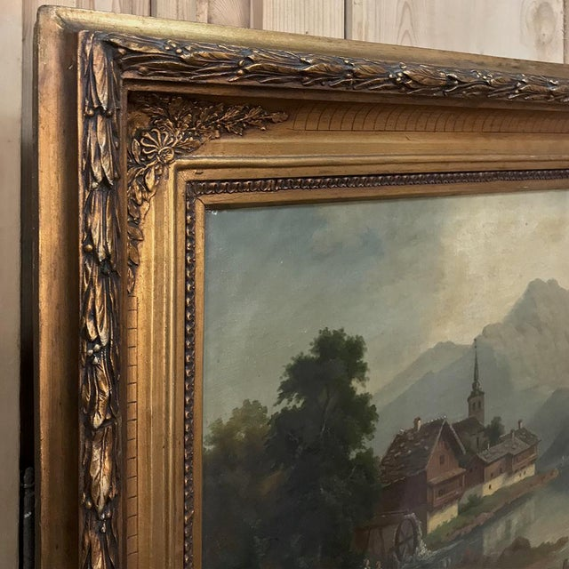 Gold Pair 19th Century Framed Oil Paintings on Canvas For Sale - Image 8 of 13