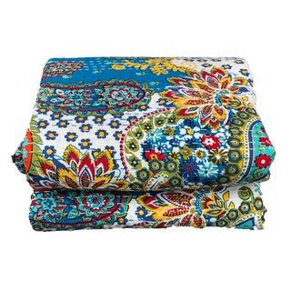 "Vintage Indian CottonThrow Kantha Quilt Ikat Design 88"" by 106"" For Sale"