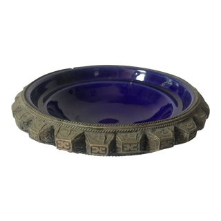 Cobalt Blue Brutalist Pottery Bowl