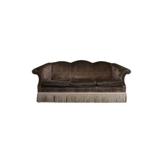 Modern Baker Velvet Upholstered Sofa For Sale