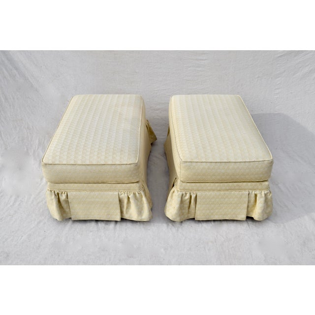 Light Yellow Vintage Ottomans on Casters, Pair For Sale - Image 8 of 10