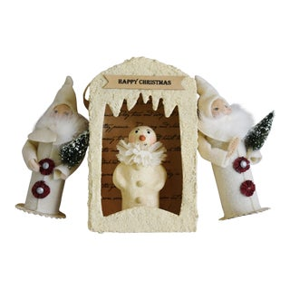 Santa and Snowman Christmas Tree Ornaments - Set of 3 For Sale