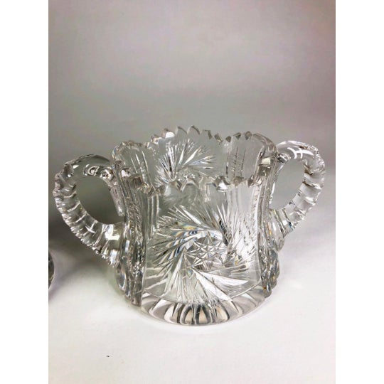 1920s Antique German Crystal Creamer and Sugar Bowl Set For Sale - Image 4 of 6