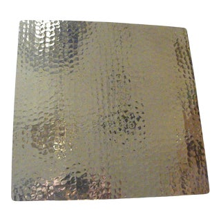 Hand Hammered Square Copper Metal Brass Cake Tray Stand Dessert Plate For Sale
