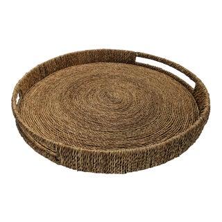 Oversized Round Ottoman Tray - Coastal Style Seagrass