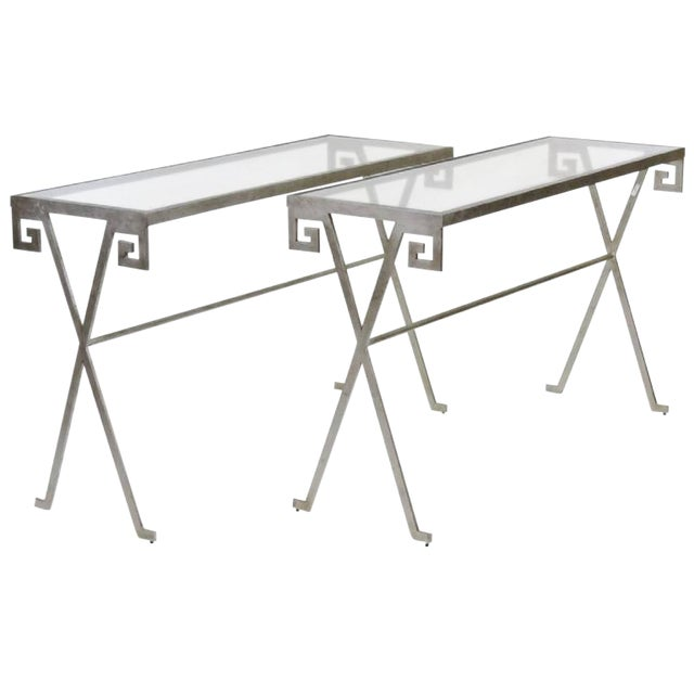 Pair of Mid Century Modern Silvered Glass Top Console Tables For Sale