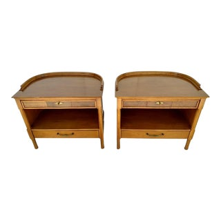 Demilune Backed Wood Side Tables - A Pair