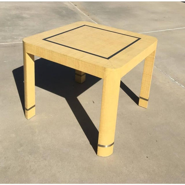 Tan Grasscloth and Brushed Stainless Steel Game Table by The Rudolph Collection For Sale - Image 8 of 8