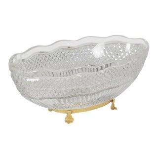 Val St. Lambert Cut Glass Centerpiece Bowl on a Gold Gilt Bronze Base For Sale