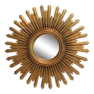 Gilt Sunburst Convex Mirror For Sale