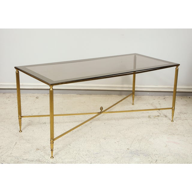 French Rectangular Brass Coffee/Cocktail Table With Smoked Glass on Stretcher Base For Sale - Image 3 of 11
