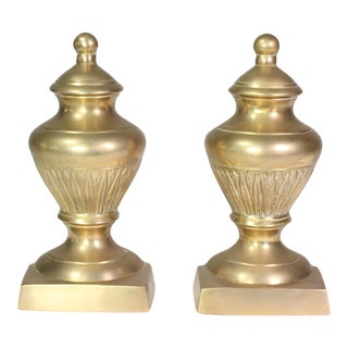 Mid-Century Neoclassical Brass Urn Bookends - a Pair For Sale