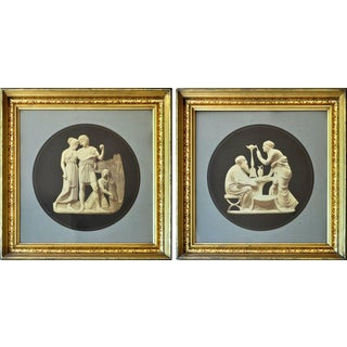 Antique Photographs of Two of the Four Ages/Seasons Bertel Thorvaldsen Relief Sculptures, Framed - a Pair For Sale