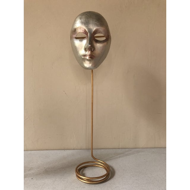 Italian Paper-Maché Mask on Custom Stand For Sale - Image 9 of 9