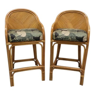 McGuire Style Bamboo Rattan Palm Leaf Bar Stools - 1 Pair of 2