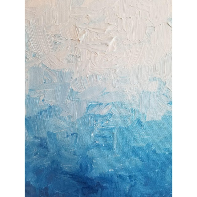 Modern Blue Impasto Textured Oil Painting - Image 4 of 5
