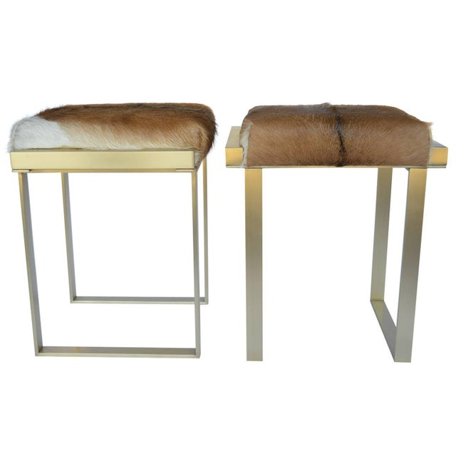 Metal 1980s Vintage Brushed Brass Stools- a Pair For Sale - Image 7 of 7