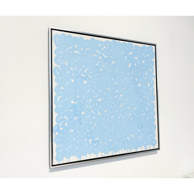 """Abstract Exclusive John O'Hara """"Series Aw, Blue"""" Encaustic Painting For Sale - Image 3 of 8"""