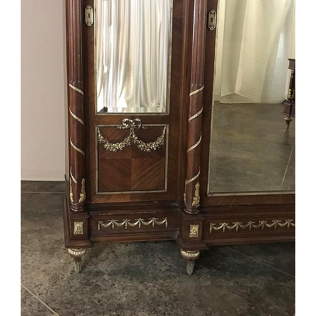 Gold 19th Century French Louis XVI Mahogany Armoire With Ormolu For Sale - Image 8 of 13