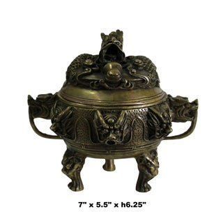Chinese Brown Dragon Head Lid, Dragons Bronze Incense Burner Preview