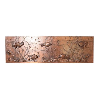 Huge Lighted Copper Wall Picture Panel or Object with Fishes For Sale