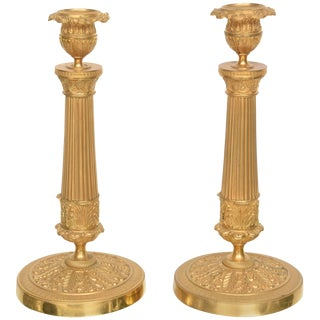 19th Century Louis XVI Style Neoclassical Gilt Brass Candle Holders - a Pair For Sale