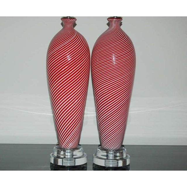 Italian Dino Martens Murano Glass Table Lamps Red Pin Stripes For Sale - Image 3 of 7