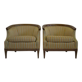 Edward Wormley for Drexel Striped Barrel Back Chairs - a Pair