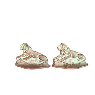 1920s Vintage Cast Metal Lion Bookends- A Pair For Sale