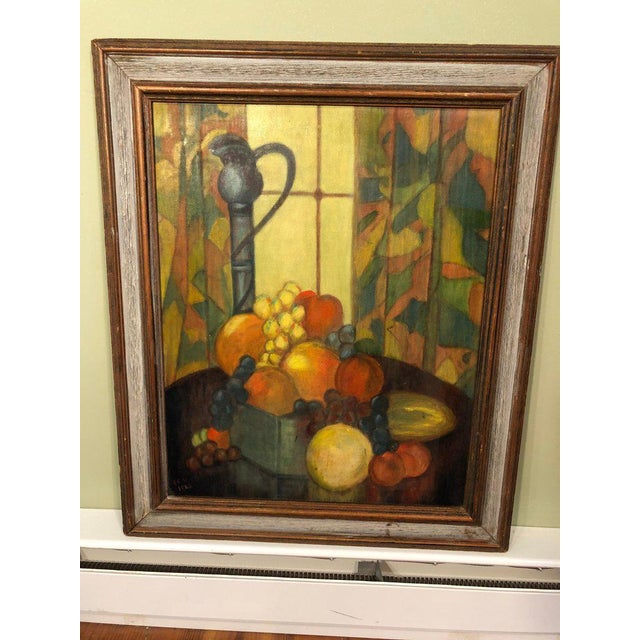"""Mid-century still life on board. Signed lower right. """"I C W 1965"""". The composition includes a full bowl of fruit with a..."""
