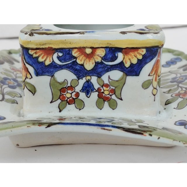 19th C French Faience Inkwell For Sale - Image 5 of 8