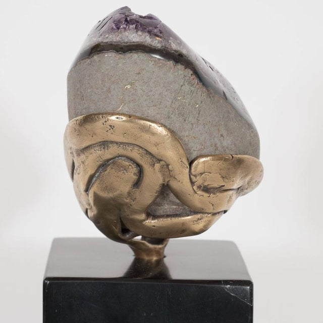 Amethyst Geode with a Sculptural Bronze Display Stand and Black Marble Base For Sale In New York - Image 6 of 9