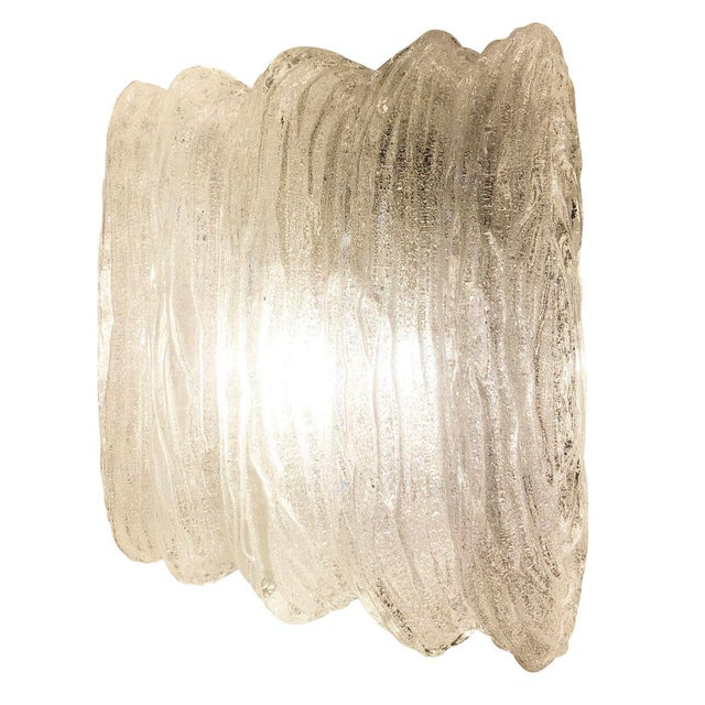 Mid-Century Modern Textured Murano Glass Flush Mounts or Sconces - a Pair For Sale - Image 3 of 7