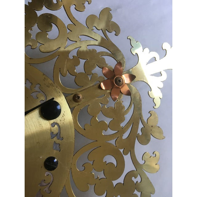 Large Filigree Mid Century Wall Clock For Sale - Image 5 of 7