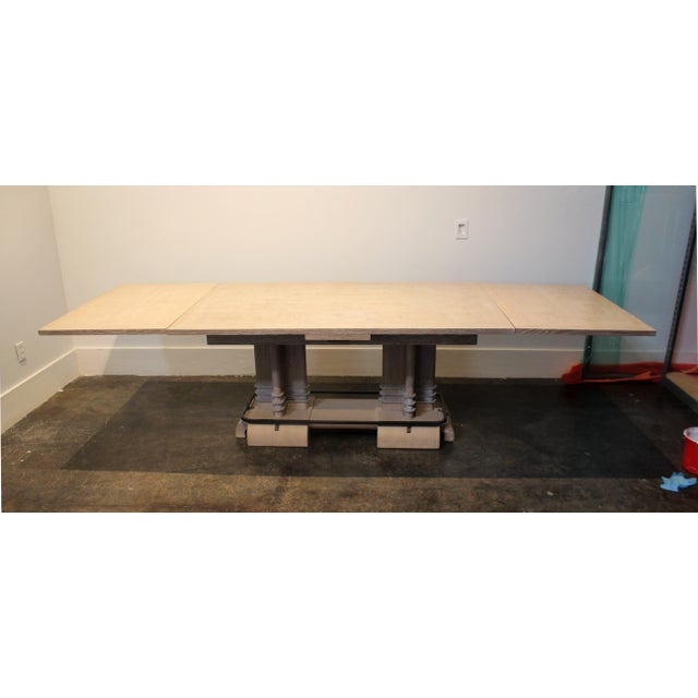 Metal Frank Lloyd Wright Style French Art Deco Cerused Oak Dining Table For Sale - Image 7 of 8