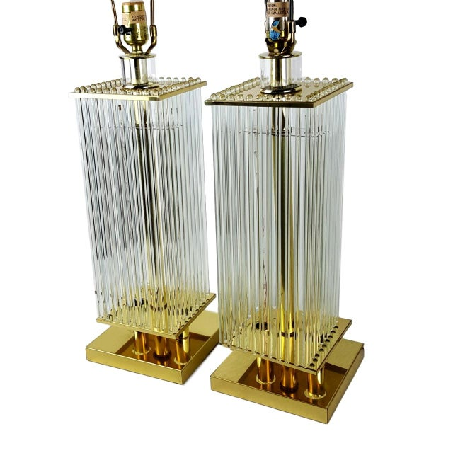 Sciolari-Style Glass Rod Table Lamps - A Pair - Image 3 of 10
