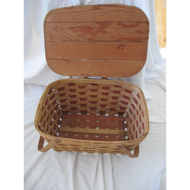 Early 21st Century Vintage Picnic Basket Set With Wool Plaid Blanket For Sale - Image 5 of 9