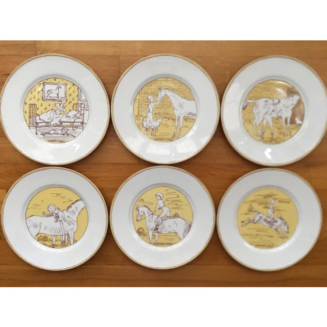 "Vintage Hermès 6-piece plate set ""Premier Matin de L'an 2000"" limited edition motif printed on Limoges porcelain. Perfect..."
