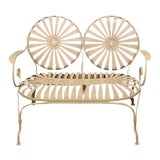 Image of 1930s Francois Carre French Sunburst Garden Bench For Sale