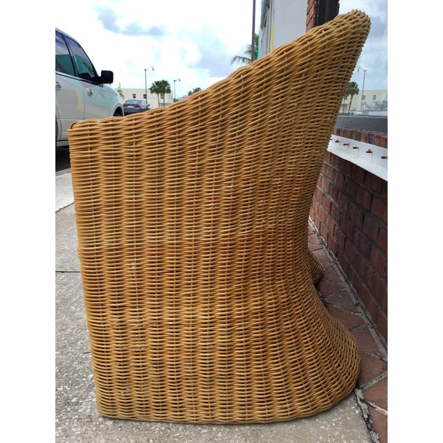 Tan Moderne Rattan Barrel Chairs - a Pair For Sale - Image 8 of 11