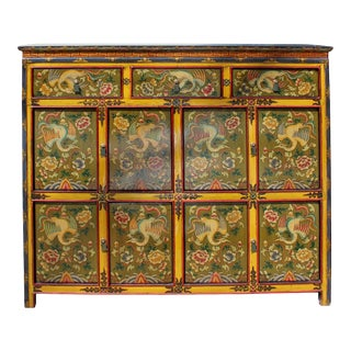 Chinese Tibetan Phoenix Flower Graphic Tall Credenza Storage Cabinet For Sale
