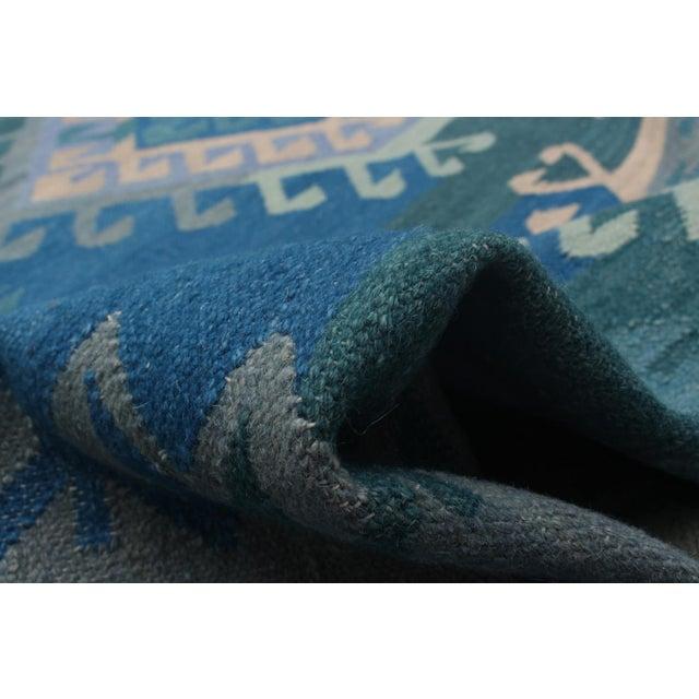 Vintage Turkish Blue and Beige Boho Chic Kilim Rug - 8′ × 10′ - Image 5 of 5