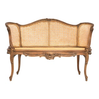 Louis XVI Style Cane Back & Seat Settee For Sale